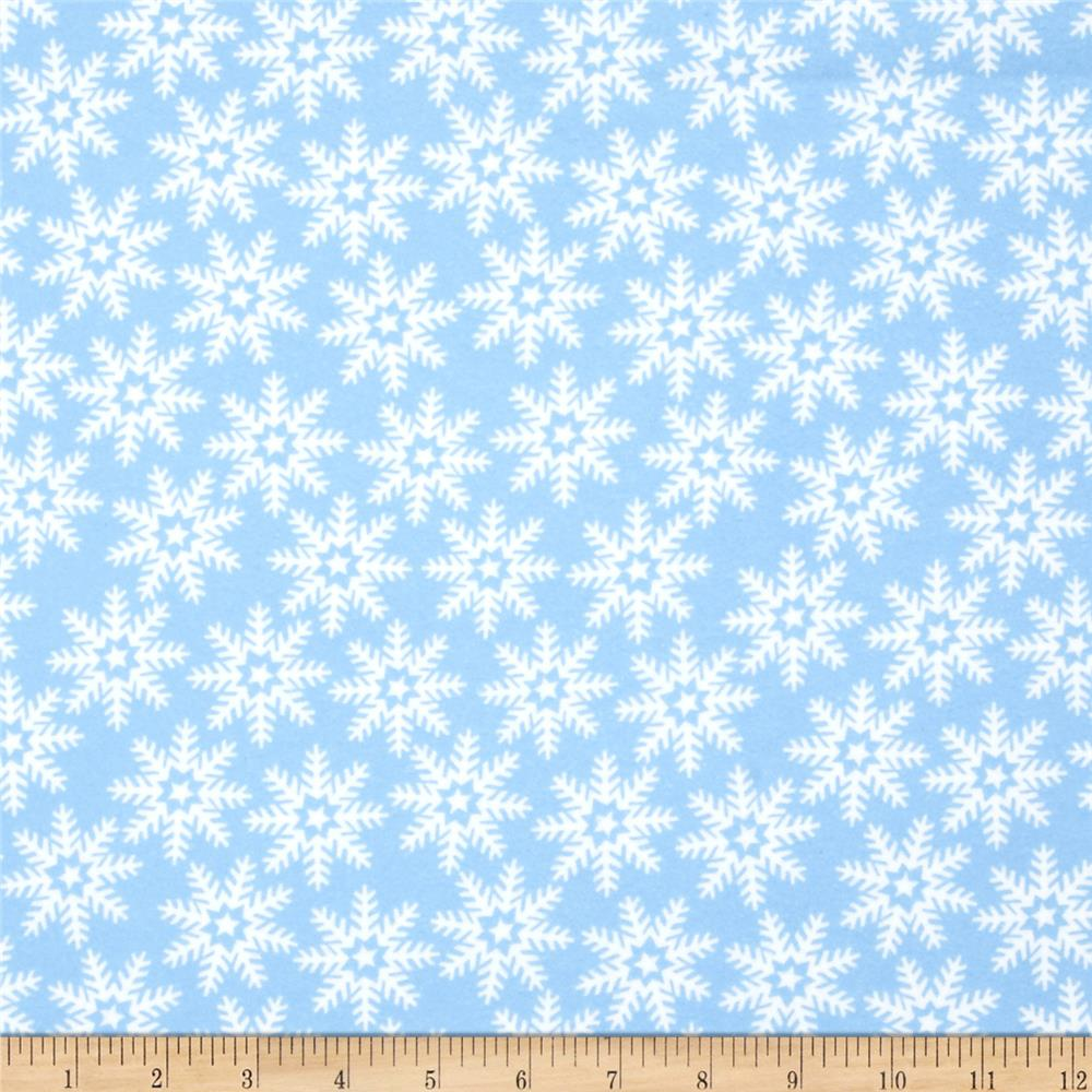 Let It Snow Flannell Snowflakes Blue