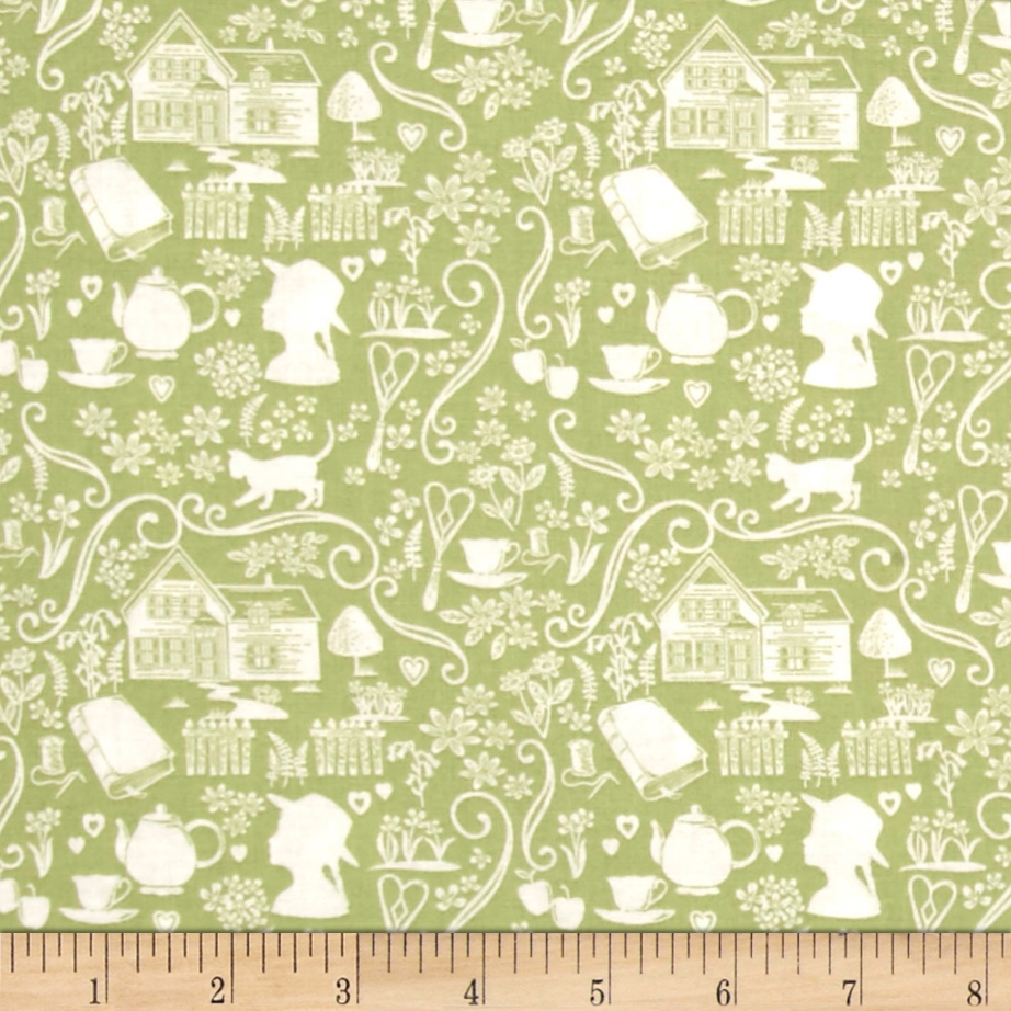 Anne of Green Gables Silouette Green Fabric by Christensen in USA