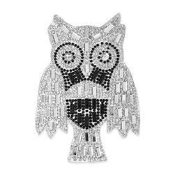 "4"" x 3"" Iron On Rhinestone Owl Applique"