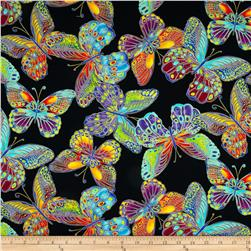 Timeless Treasures Glimmer Metallic Large Butterfly Black