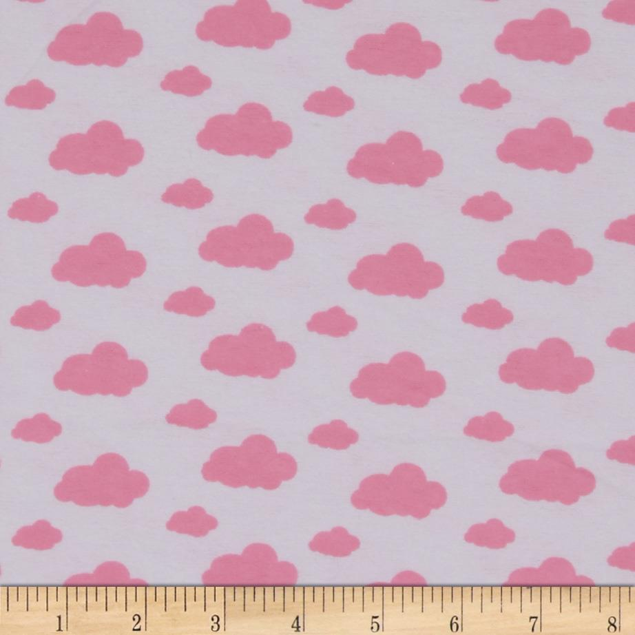 Dreamland Flannel Dream Clouds White/Pink Carnation