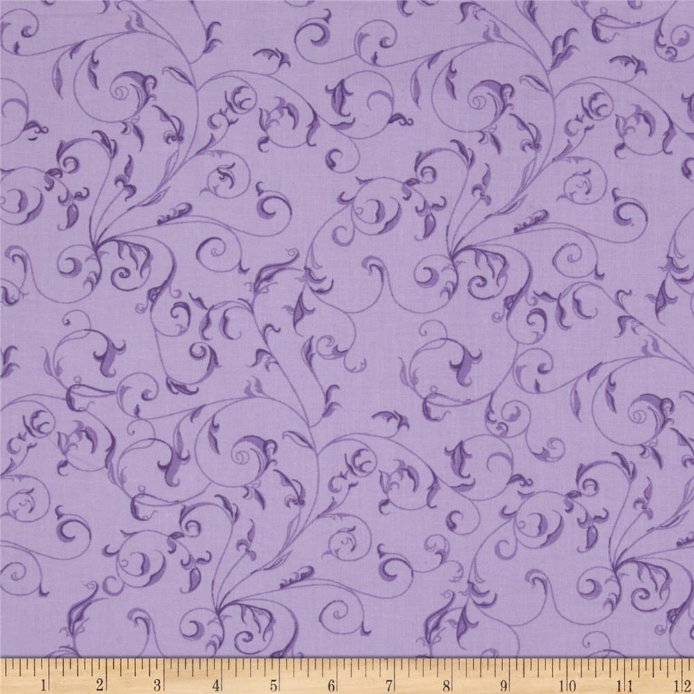 "110"" Wide Quilt Backing Filigree Purple"