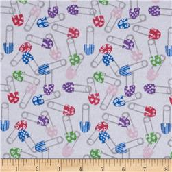 Flannel Diaper Pins White