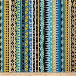 Stretch ITY Jersey Knit Aztec Yellow/Black/Baby Blue