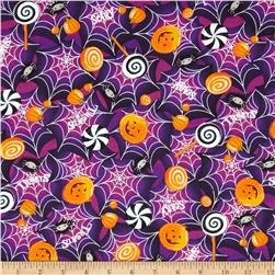 Horror Scope Webs & Jack-O-Lanterns Purple Fabric