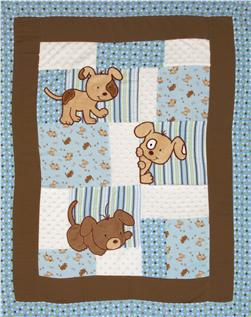 Peek-a-boo Puppy Patches Panel Blue/Mocha