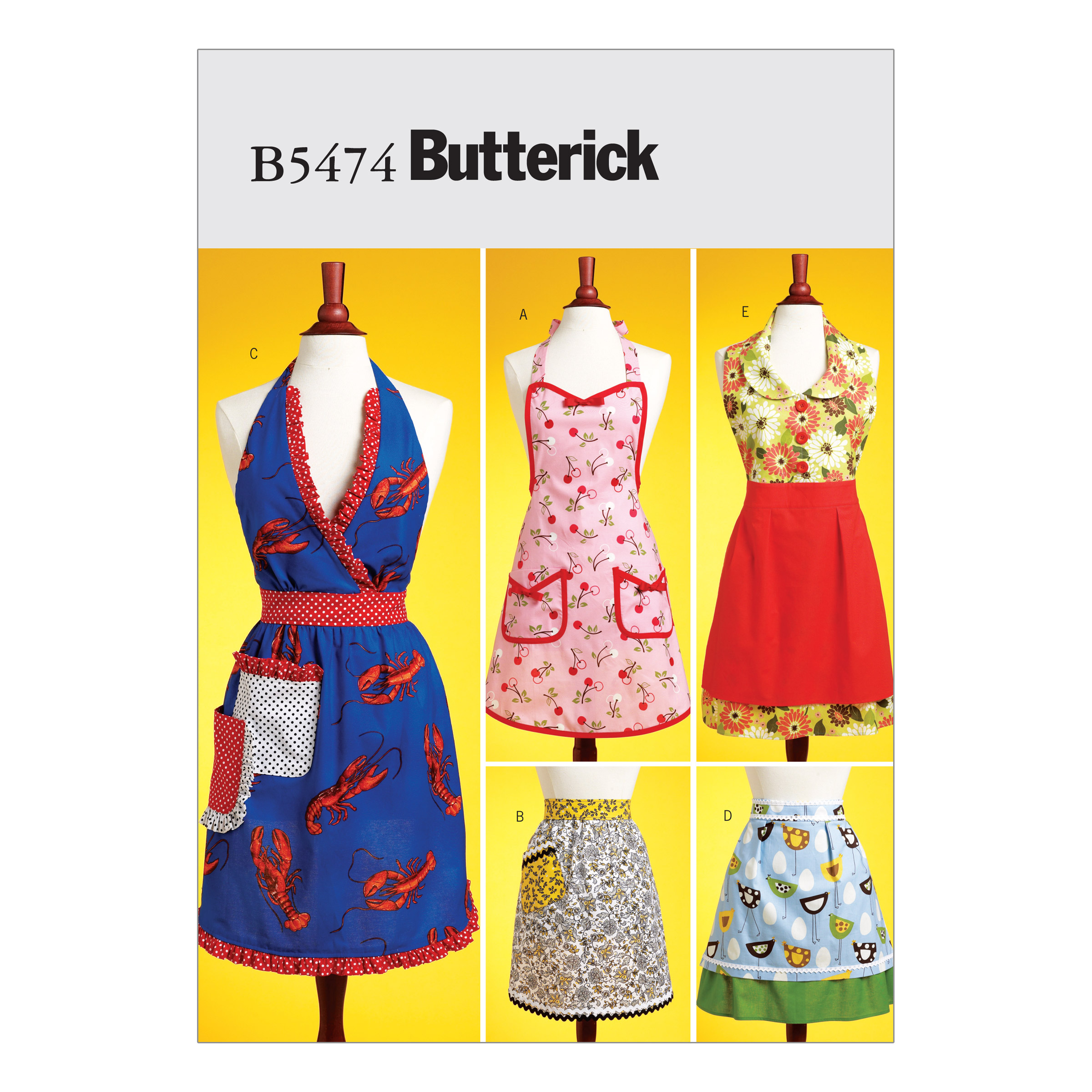 Vintage Aprons, Retro Aprons, Old Fashioned Aprons & Patterns Butterick Aprons Pattern B5474 Size XY0 $14.98 AT vintagedancer.com