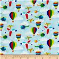 Travel Around The World Airplanes, Helicopters, Hot Air Ballons Light Blue