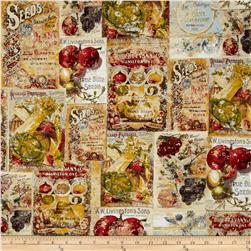 Vintage Seedpackets Large Block Print Multi