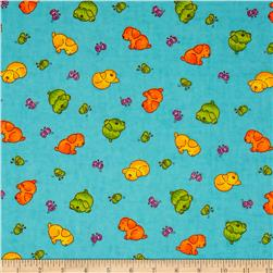Flannel Novelties Tossed Puppies and Butterflies Turquoise Fabric