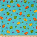 Flannel Novelties Tossed Puppies and Butterflies Turquoise