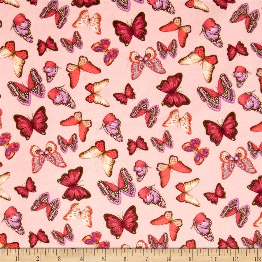 Minky Butterflies Light Pink