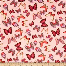 Minky Butterflies Light Pink Fabric