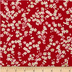 Diary of a Geisha Small Metallic Flower Red