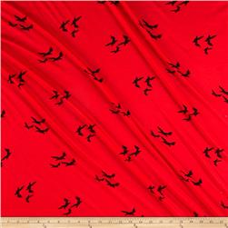 Stretch Rayon Jersey Designer Knit Birds Red/Black
