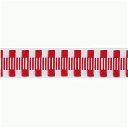 1'' Jacquard Ribbon Check Stripes Red/White