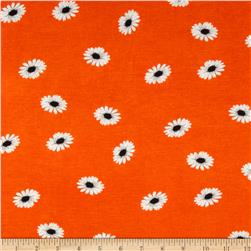 Stretch Rayon Jersey Knit Daisies Orange/White