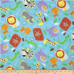 Flannel Zoo Animals Blue