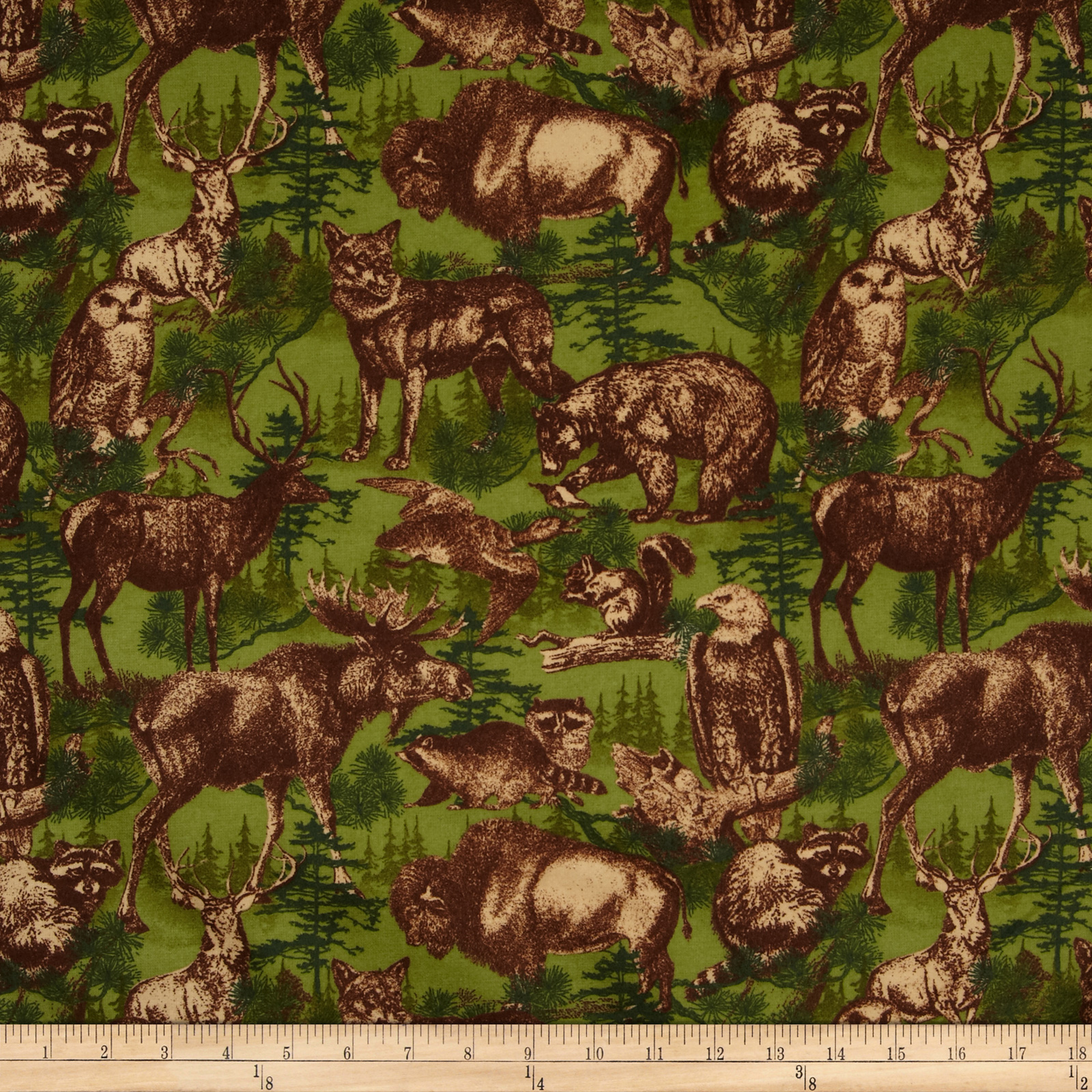Timber Lodge Flannel Forest Animals Nature Fabric