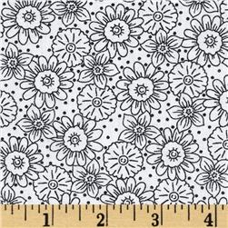 Wild Flower Flower Toile White/Black