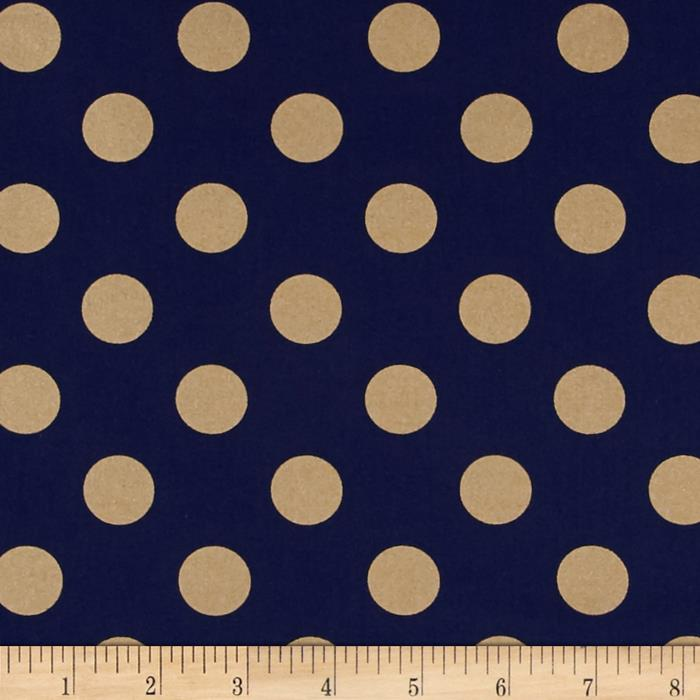 Michael Miller Glitz Metallic Quarter Dot Pearlized Navy-Bronze