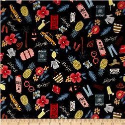 Cotton + Steel Rifle Paper Co. Les Fleurs Bon Voyage Black