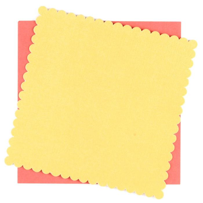 DCWV Yellow/Orange Scalloped Square Cards 10/PK