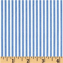 Cotton Stretch Poplin Stripes Blue/Ivory