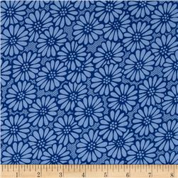 "110"" Wide Quilt Backing Large Daisy Royal Blue"
