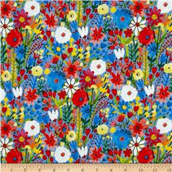 Flower Pedals Organic Multi Floral Blue