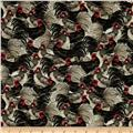 Mia Country Flock Digital Print Packed Roosters Multi