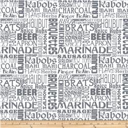 Grill On Words White/Grey Fabric