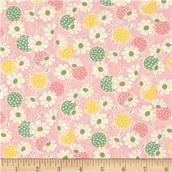 Moda Fresh Air Polka Dot Daisy Pink Fabric