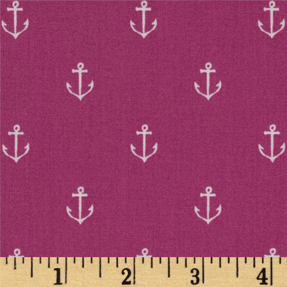 Michael Miller Out To Sea Anchors Away Raspberry