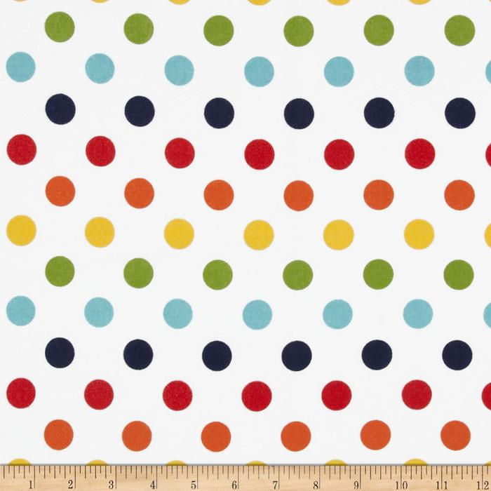 Riley Blake Flannel Basics Dots Medium Rainbow Red/Orange