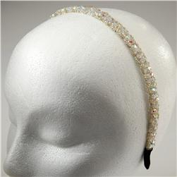 3/8'' Faceted Floral Beaded Headband Crystal Aurora Borealis