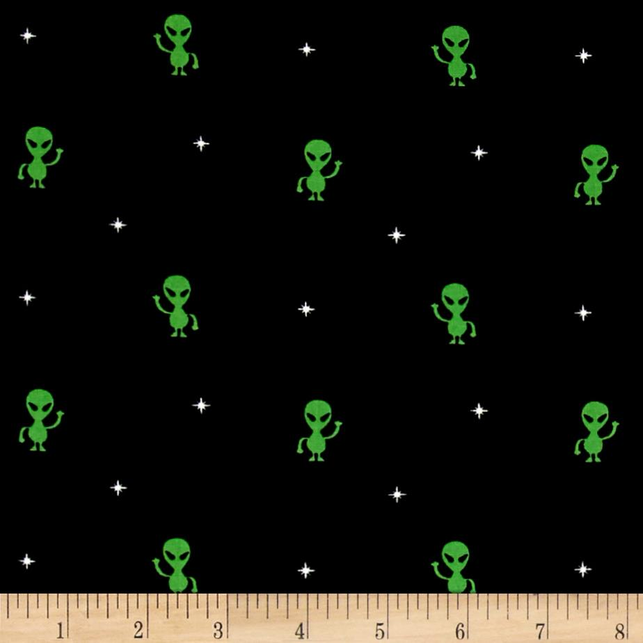 Timeless treasures colored aliens black discount for Alien fabric