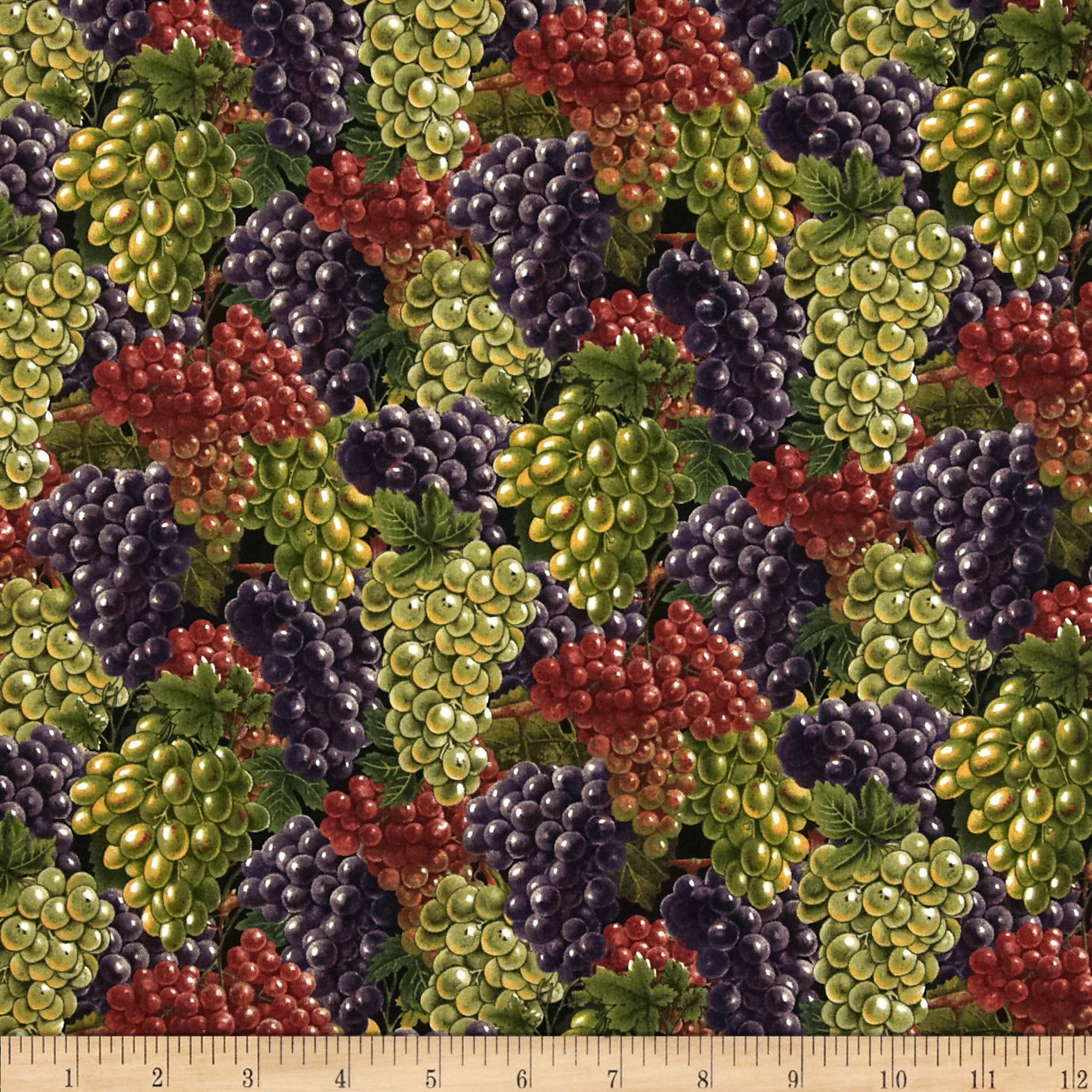 Italian Vineyard Grapes Black Fabric
