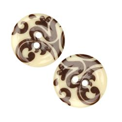 Fashion Button 1''  Damask Cream/Brown