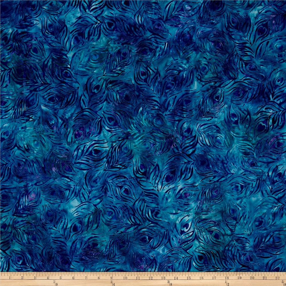Kaufman Artisan Batiks Fancy Feathers Spray Peacock