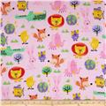 Comfy Flannel Funky Animals Pink