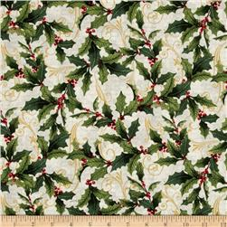 Festive Flora Metallic Holly Script Pearl/Gold