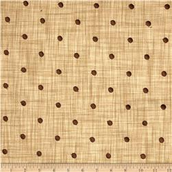 Tempo Faux Linen Embroidered Dot Cafe