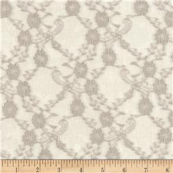 Stretch Lace Trellis Floral Taupe