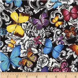 Timeless Treasures Butterflies Floral Toile Multi