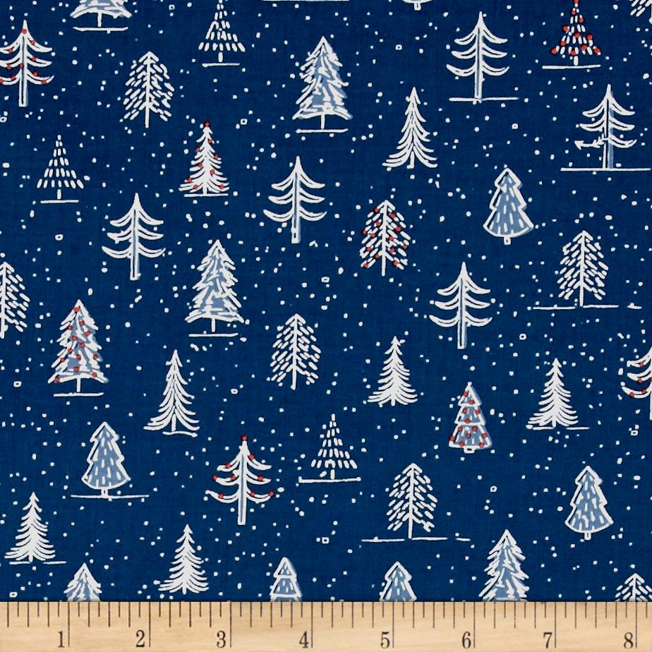 Naughty Or Nice? Christmas Trees Navy Fabric By The Yard
