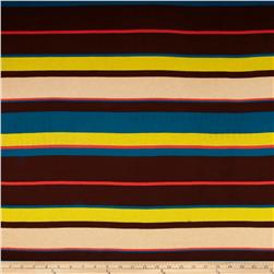 Rayon Jersey Knit Stripes Teal/Brown Fabric