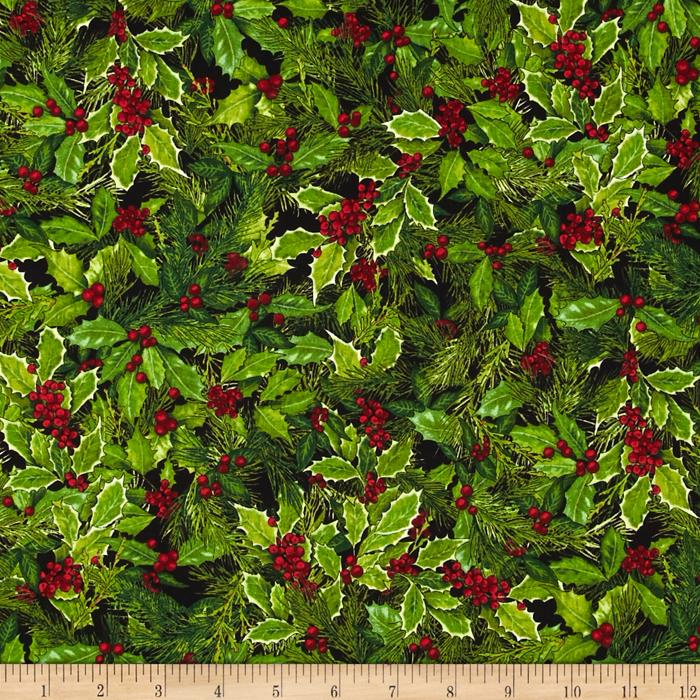 Kaufman Holly Jolly Christmas Holly & Berries Black