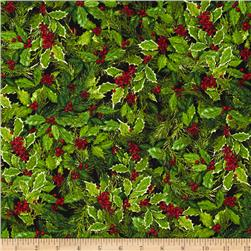 Robert Kaufman Holly Jolly Christmas Holly & Berries Black