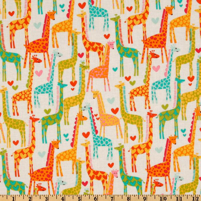Michael Miller Giraffe Love White